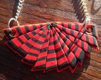 Fan Dance - Red & Black Polymer Clay Statement Necklace