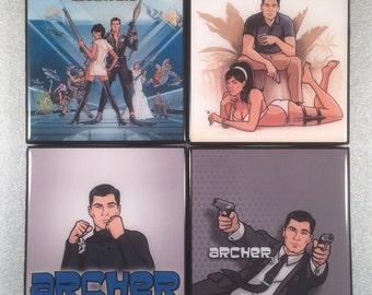 Archer TV Show Ceramic Coasters - set of 4