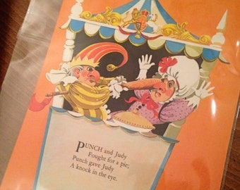 Punch and Judy - Nursery Rhymes from vintage book 1970's - handmounted - Free UK Shipping
