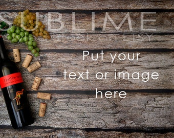 Styled Stock Photography / Rustic Styled / Bottle of Wine / Digital Background / Wood Background / JPEG Digital Image / StockStyle-591
