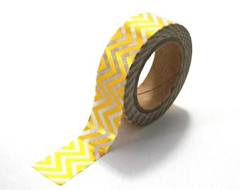 Gold Foil Chevron Shiny Stripes Washi Tape Golden Stripey 10m x 15mm