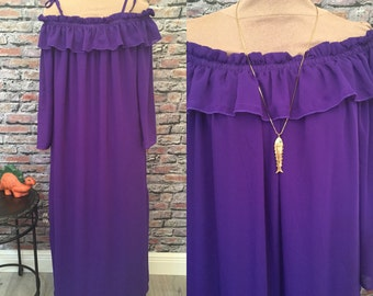 Vintage Ashro Purple Caftan Maxi Dress  Size large/Extra Large