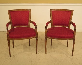 41038E:  French Louis XV Open Arm Occasional Chairs w. Tufted Seats