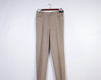 ON SALE Vintage 90' Womens High Waisted Pants Beige Wool Houndstooth Pleated Trousers Size Medium