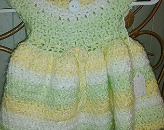 Adorable 0-3m. Infant Girls Dress. Yellow White Mint