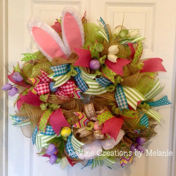 Easter wreath easter bunny spring wreath easter mesh wreath spring