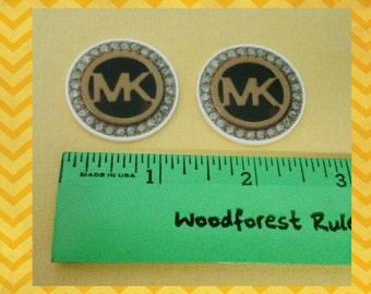 2 MK flatback resin cabochons