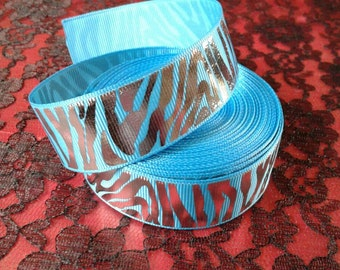 Turquoise and Silver Zebra 7/8 inch grosgrain ribbon by the yard