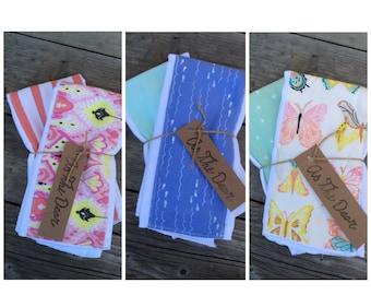 Set of 2 burp cloths // three choices