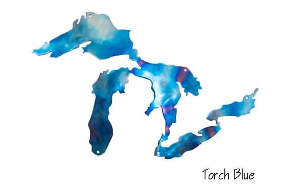 Great Lakes metal wall art, torch blue