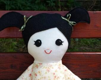 Cloth Fabric Doll Black Hair