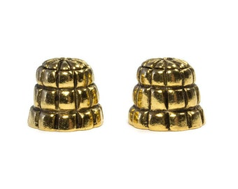 Medium Size Gold Tone Brass End Cones, Kumihimo Components, Antique Gold Brass, Detailed Brass, Inside Diameter 8 mm