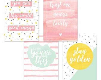 Positivity - Set : stationery, writing, postcard, stationary, LittleLeftyLou, Snail Mail, Happy mail, pastel colors, positive, compliments
