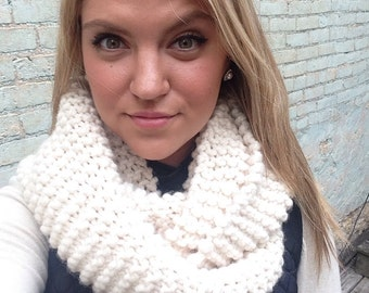 Hand knitted chunky infinity scarf