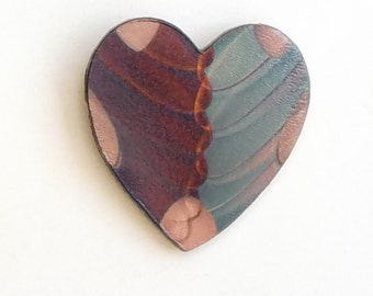 Flame painted copper Sm. Heart, pin