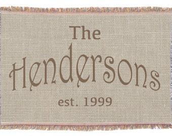 Family Monogram Throw Blanket - Woven Throw, Burlap Look Custom Monogrammed Throw Blanket, Brown Rustic Chic