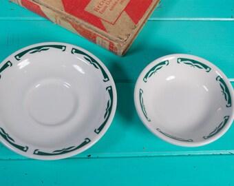 Vintage Homer Laughlin Green Wave Diner Restaurant Side Dish and Saucer