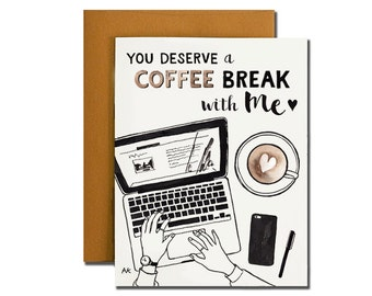 Coffee Break Greeting Card. Illustration card. Print of my Original Illustration with Ink and Watercolor.
