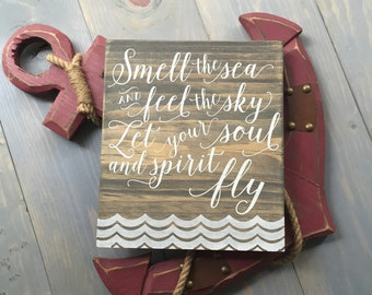 """Smell the Sea and Feel the Sky Home Decor Sign - 8"""" x 9"""" Grey"""
