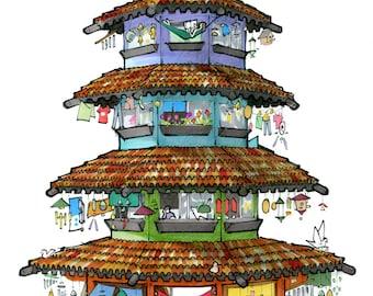 Tiny House Pagoda Illustration