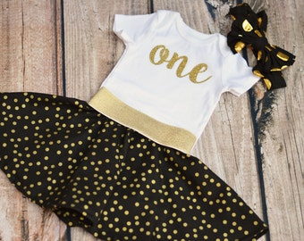 Gold and Black Glitter Birthday Outfit - 1st 2nd 3rd 4th 5th - One Two Three Four Five Six - Bodysuit or Shirt - optional bow and skirt