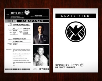 Marvel Avengers Agents of Shield (S.h.i.e.l.d) Groomsmen/Bridesmaid Classified Dossier Digital Printable Personalized Invitation Cards