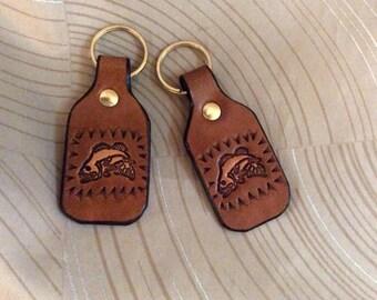 Fish, key fob, leather keychain, fish on key chain, tooled key fob, fish keychain, fish on keyfob, fish, fisherman, sports, water, fishing