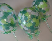 """3, 6, or 10 Count: LARGE 16"""" Confetti Balloons with Lime, White, & Green Confetti- Wedding, Shower, Baby, Prom, 1st Birth, Grad, Spring 2017"""