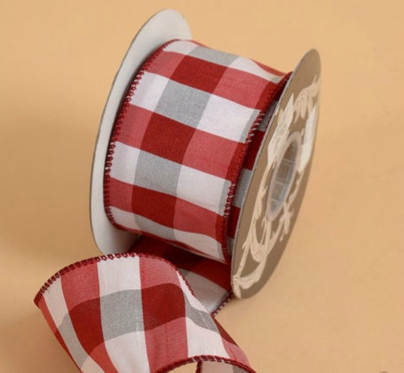 """2.5"""" X 10 Yds Faux Dupion Check Wired Edge Ribbon, Red"""