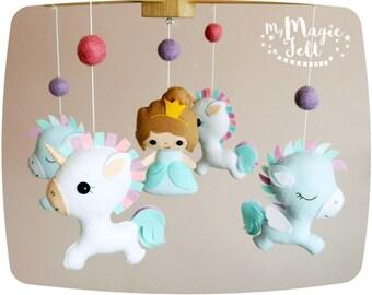 Baby mobile unicorn Baby mobile princess and unicorn Crib mobile unicorn and pegasus Baby girl mobile Nursery mobile Baby shower princess