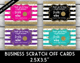 Printed Customer LOYALTY SCRATCH OFF Cards - Stripe/Glitter, Direct Sales Inspired, Professional Printing,Business Stationery