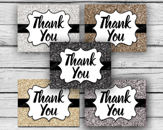 Printed Metallic GLITTER THANK YOU Note Card Set, Motivational Cards, Positive Inspiration, Printed Thank You Cards, Stationery