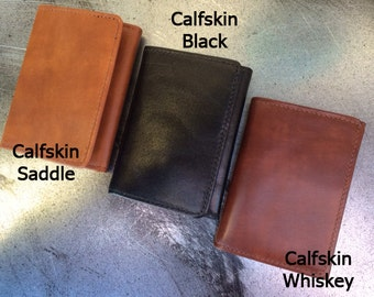 Mens Trifold Wallet, Genuine Italian Calfskin Leather, Genuine Leather, Leather, USA, Mens Wallet, Durable Wallet, Made in USA,