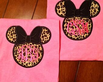 monogrammed animal print Minnie Mouse appliqué tshirt