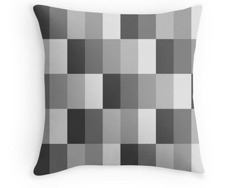 Black Gray Pillow, Gray Throw Pillow, Gray Decorative Pillow, Geometric Pillow, Gray Toss Pillow, Black White Pillow, Black Gray Pillow