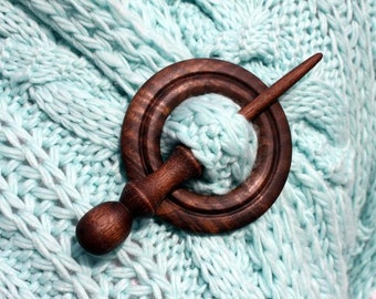Wooden Shawl Pin or Hair Stick