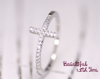 Womens Cross Ring, CZ Ring,Sterling Silver Cross Ring, Christian Ring, Cross Ring Sterling Silver, Womens Promise Ring, Sterling Silver Ring