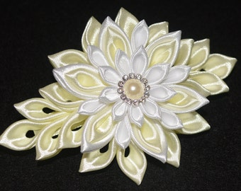 Handmade Girl's/Ladies French Barrette Hair Clip, Kanzashi,Wedding/Christening