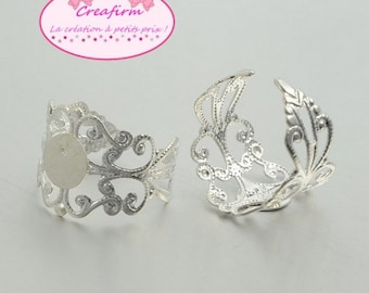 15 rings filigree silver shiny plate 8mm
