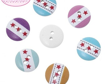 50 buttons 3 star 15mm multicolored wooden