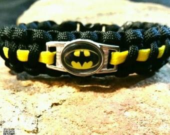 Batman Paracord Bracelet, Super Hero Bracelet, Kids Gift, Unisex Gift, Survival Gear