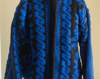 Womens Vintage Eighties Sweater Coat Jacket Womens Large XL Blue and Black Floral Print / Zip Up Sweater Jacket Insulated Coat Plus Size 18
