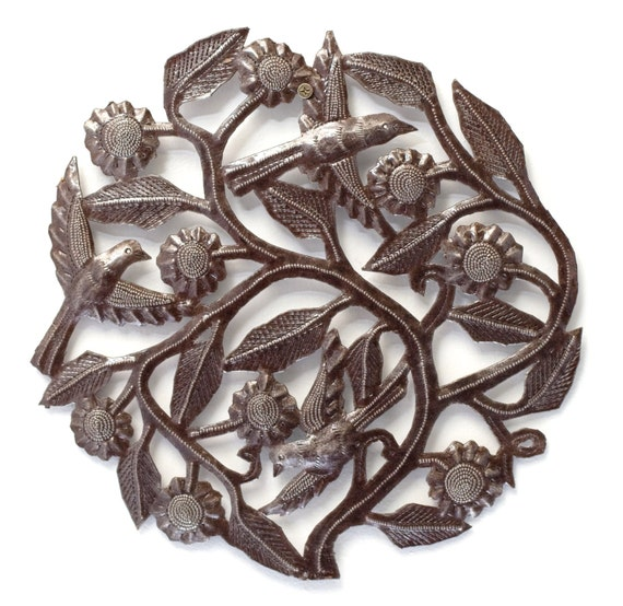 "Tree of Life , Birds and Sunflowers Haiti Metal Art 12"" X 12"""