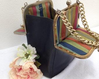 Vintage COACH Bonnie CASHIN  Swing Bag, Double KISSLOCK Purse, Handbag, navy blue leather, Mexican stripes, chain straps, late 60s