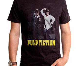 Pulp Fiction Dance Off (PLP0048-101BLK) Men's T-Shirt. 90s movies, quentin tarantino, mobsters, movie, films, john travolta, vincent, jules