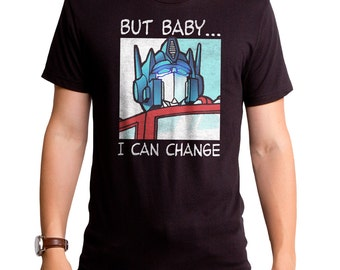 Transformers Changed It Up (TRS0022-101BLK) Men's T-shirt. Robots, autobot crew, comics, Optimus Prime, 80's tees, 80s, roll out, cartoons