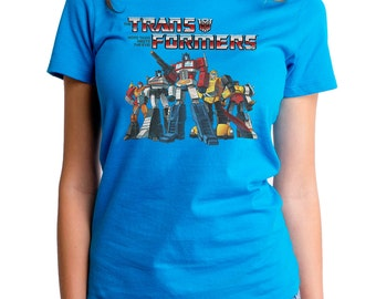 Autobot Crew (HAS0204-102TEL) Transformers Women's Tee. Transformers, Autobots, robots, Hasbro, comics, Optimus Prime, Roll Out, 80's tees.