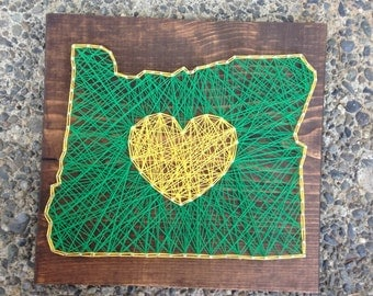 MADE TO ORDER- Oregon String Art- Green and Yellow- Oregon Ducks