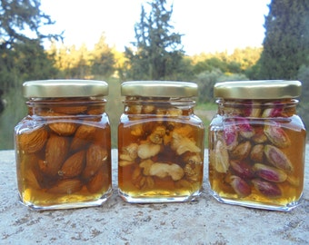 Raw Forest Honey with Walnuts,Almonds,Pistachio Aeginis, All Greek Natural Products, 3Jars of 4.2oz each (120gr), Gift Set for everyone!