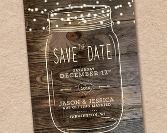 Save the Date Postcard Photo Save the Date Mason Jar Save